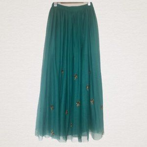 Mango Turquoise Tulle Maxi A-Line Skirt Size 2